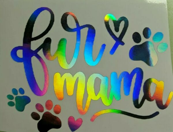Holographic Rainbow quot;Fur Mamaquot; Cat Dog Pets Vinyl Window Decal Free shipping $3.50