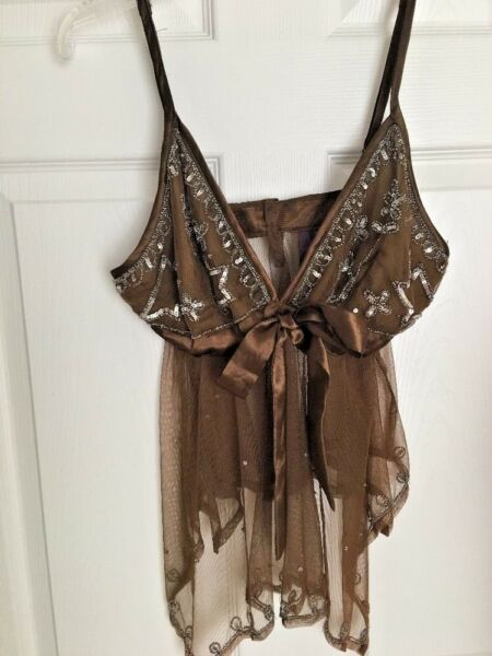 NWT Taunt Sexy Sheer Cocoa Brown Beaded Net & Satin Babydoll Nightgown Sz Small