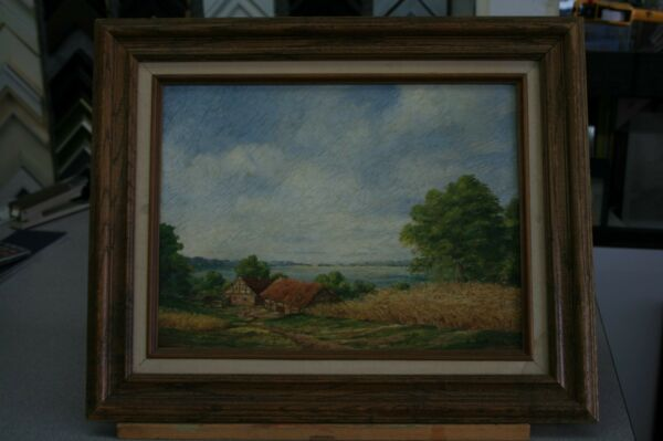 Original Oil Painting By German P.O.W Erich Berger Camp Pomona Ca 1945 WWII