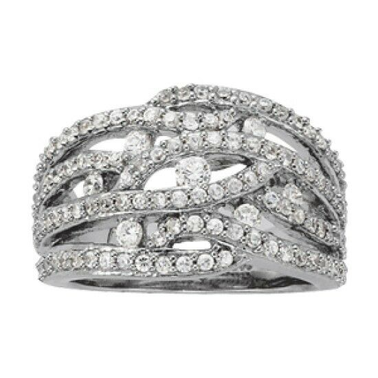 NEW LADIES 14k WHITE GOLD FOUR ROW RIGHT HAND DIAMOND RING