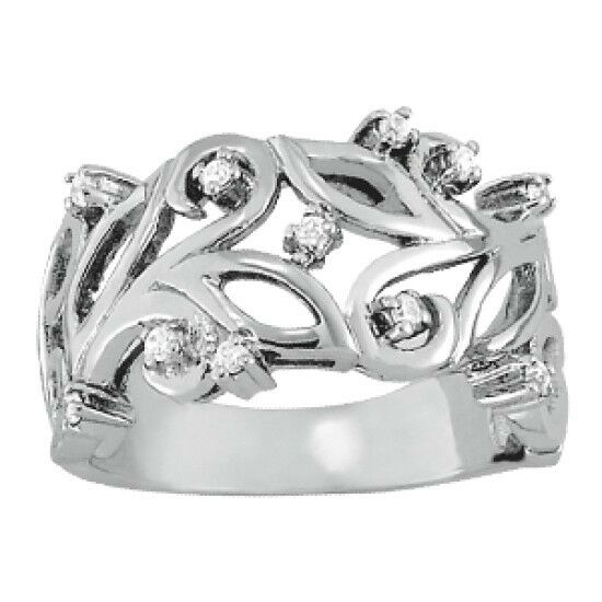 NEW LADIES 14k WHITE GOLD LEAF SWIRL RIGHT HAND DIAMOND RING