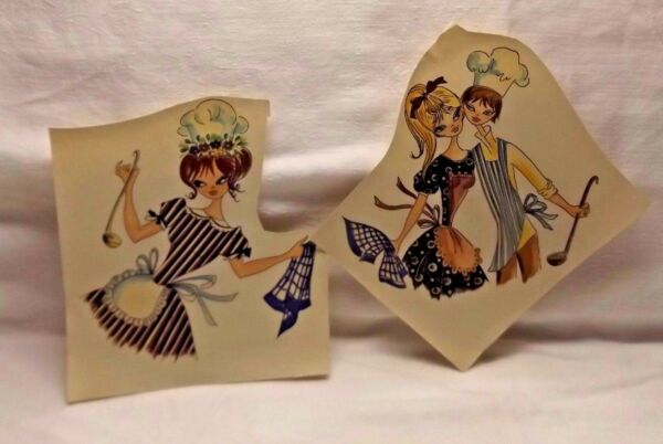 2 CUTE Vintage Craft Cooking Couple amp; Maid Water Mount Decal Transfers UNIQUE $9.99