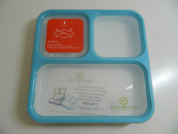 Bento Lunch Box by Lifemark Labs  Leakproof Lunch Kit with 3 Compartments