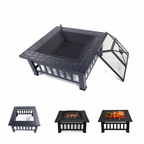 WoodCharcoal Burning Fire Pit - Outdoor Heater Patio - Stove -  Fireplace Table
