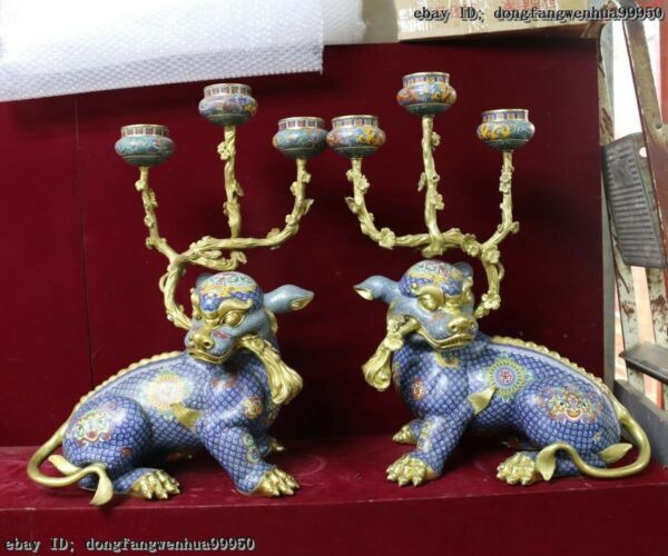 China Bronze Gold Gilt Cloisonne Foo Dog Lion Candle Holder Candlestick Pair