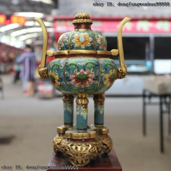 Bronze Cloisonne Gold Gilt Lion Head Pumpkin Tripod Ding Incense Burner Censer