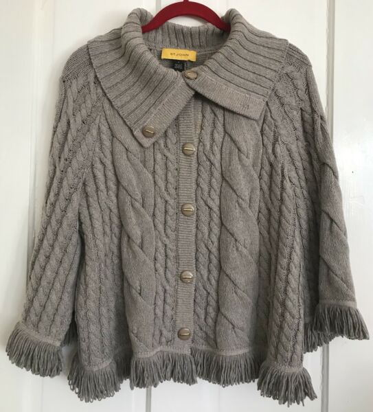 ST JOHN Cable Knit Patterns Cardigan Sweater Top Large Collar Fringe Women#x27;s M