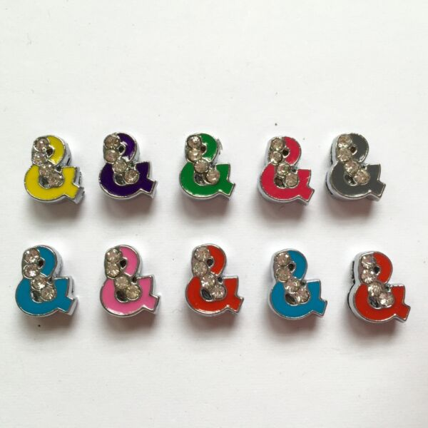 8mm Slide Charms quot;amp;quot; Symbol 10 Piece US Seller $7.50