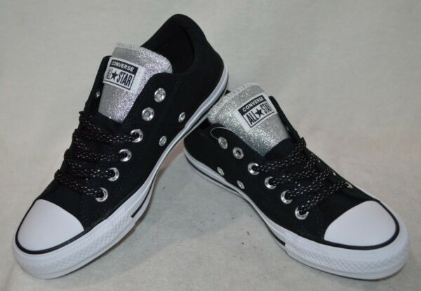 Converse Women's All Star Madison OX Black/Silver Sneakers-Asst Size NWB 562494F
