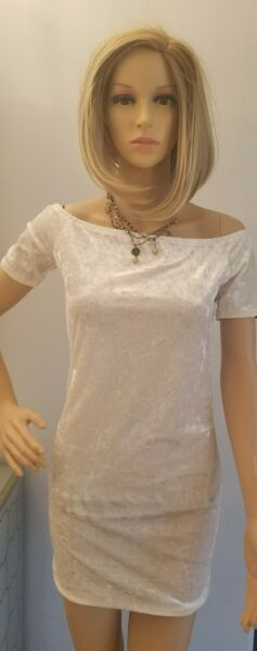 Forever 21 WHITE Form Fitting Dress Sz Large  Velour Sexy