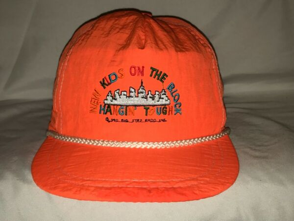 RARE NKOTB New Kids on the Block Hat Cap Neon Orange Hangin Tough 1990 90s