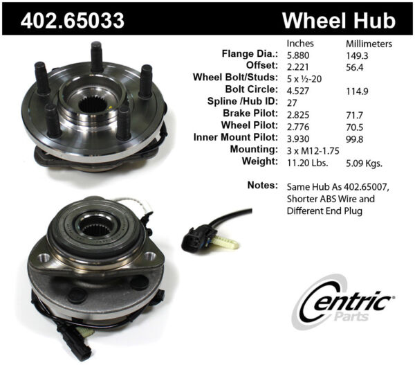 Axle Bearing and Hub Assembly-Premium Hubs Front Centric fits 10-11 Ford Ranger