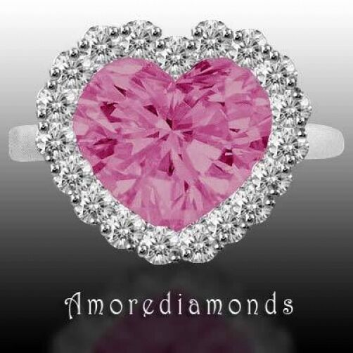 1.61 ct GIA fancy purple pink heart round diamond halo engagement ring platinum