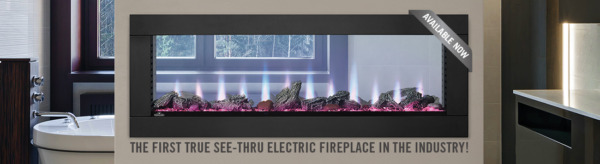 Napoleon CLEARion 50 See Thru Modern Electric Fireplace w Fire Glass Embers