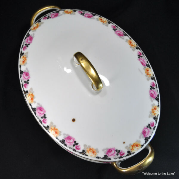 RKG RUDOLPH KAMPH of GRUNLAS - Covered Vegetable Serving Dish Gold Trim