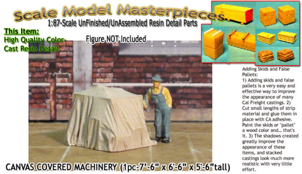 Scale Model MasterpiecesYorke CANVAS COVERED MACHINERYFLATCAR Load HO