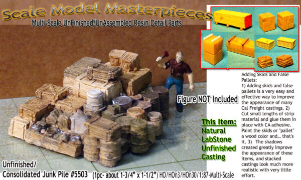 Scale Model MasterpiecesYorke Junk Pile-Metal Cans Drums-Wood Box Crate HO