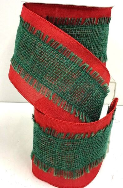 Wired Edge Linen Ribbon Stitched Burlap Overlay Red Green 4quot; W x 10 yd
