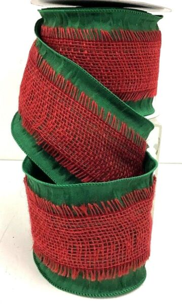 Wired Edge Linen Ribbon Stitched Burlap Overlay Green Red 4quot; W x 10 yd
