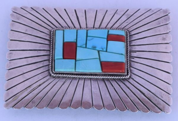 Large Navajo sterling Silver Turquoise & Coral inlay belt buckle Harrison Willie