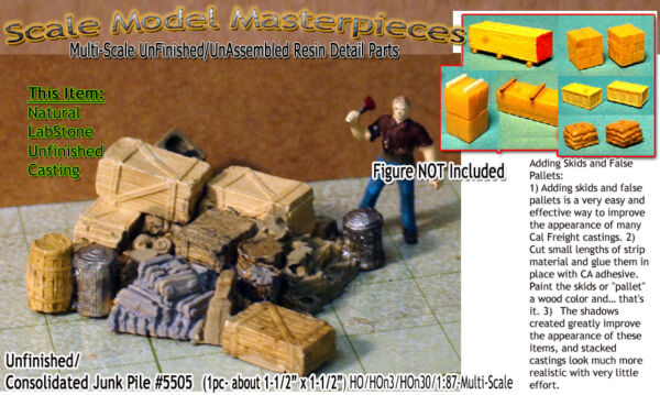Scale Model MasterpiecesYorke Junk Pile-Wood Boxes_Trashs_Clutter HO