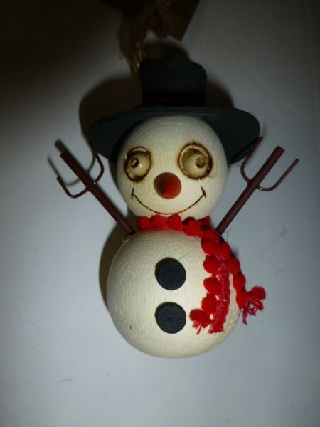 Crazy Head Zombie Snowman with Black Hat Wooden Christmas Ornament New