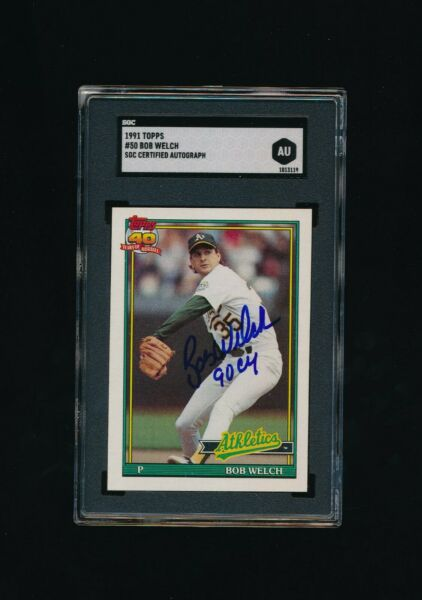 1991 Topps #50 BOB WELCH Signed Autograph Baseball Card sgc au cy inscription