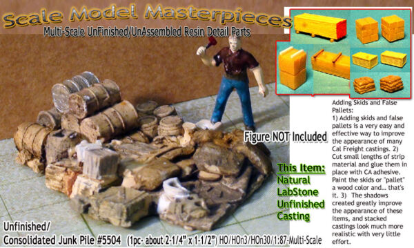 Scale Model MasterpiecesYorke Junk Pile-Metal Cans Wood Boxs Barrels Pipes HO
