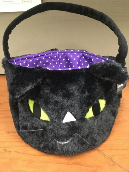 Black Cat Candy Pail Halloween Basket Purple  Plush 10