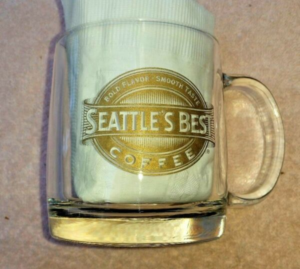 Seattle's Best Coffee Clear Glass Mug gold Logo bold flavor/smooth taste USA!