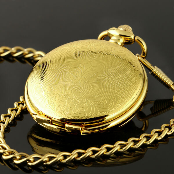 Mens Pocket Watch Mechanical Gold Case Hollow Hands Chain Hand-winding Luxury