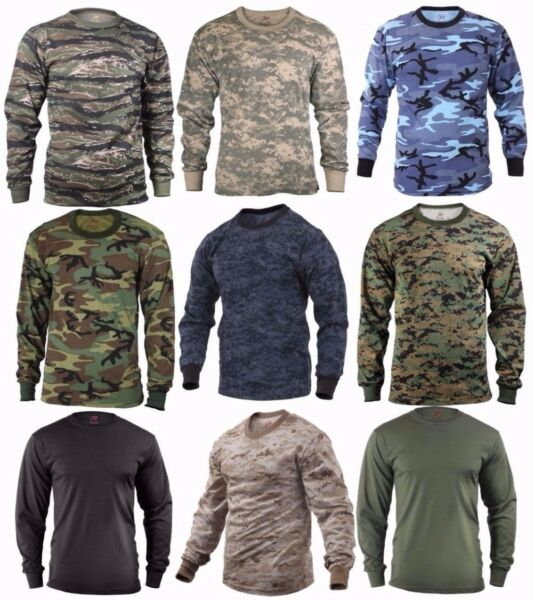 Long Sleeve T shirt Camouflage Sizes: S 2XL