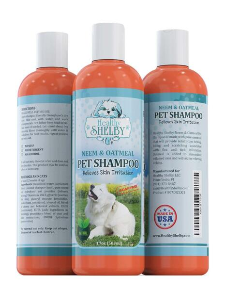 Neem & Oatmeal Pet Shampoo & Conditioner In One For Itchy Skin 17OZ