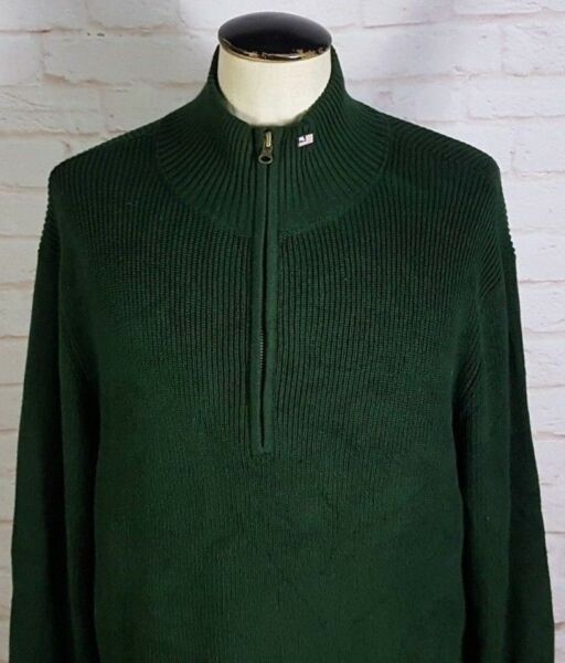 POLO Ralph Lauren Half Zip Ribbed Knit Sweater Green Polo Jeans Flag Men's Large