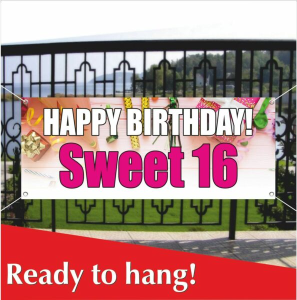 HAPPY BIRTHDAY SWEET 16 Banner Vinyl  Mesh Banner Sign Party Decoration Holiday