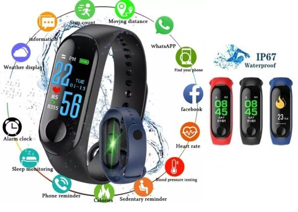 Smart Band Watch Bracelet Wristband Fitness Tracker Blood Pressure HeartRate M3 $8.95