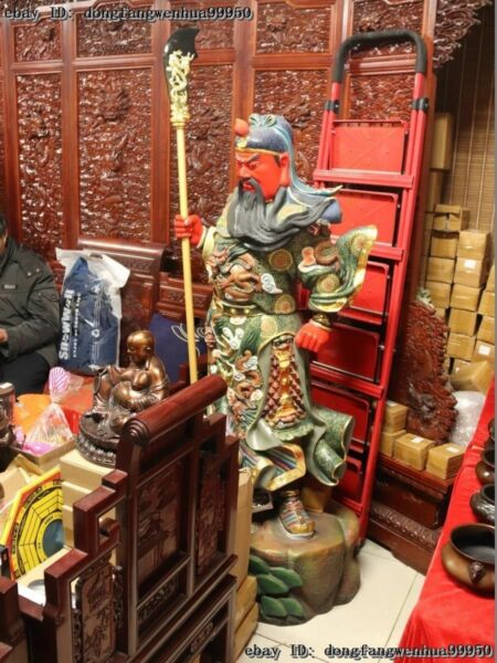 63 Chinese Copper Painted Dragon Guan Gong Guan Yu Hold Knife Warrior God Statue