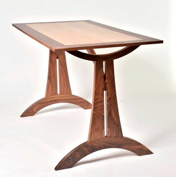 Mid Century Modern Art Deco Walnut and Tiger Maple Trestle Dining Table
