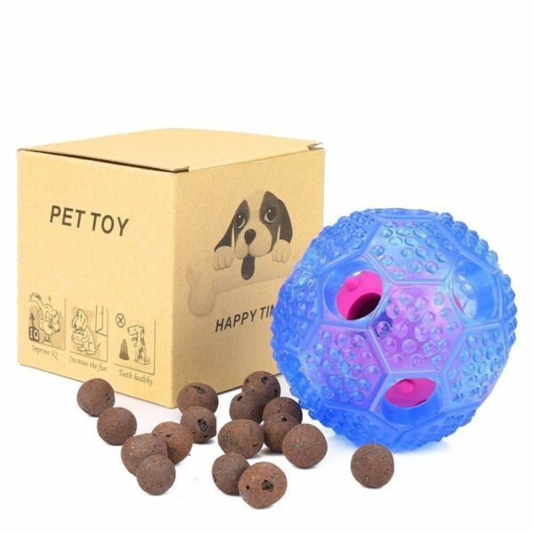 NEW IQ Treat Ball Interactive Food Dispensing Dog Smart Toy w FREE Toothbrush
