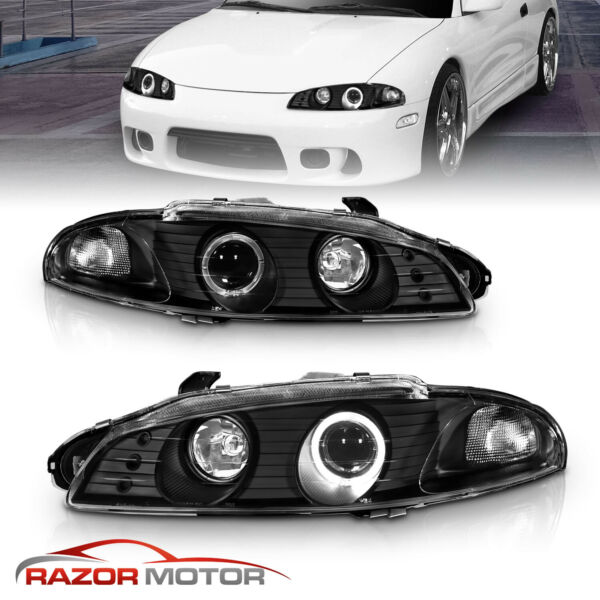 [LED Halo] 1997 1998 1999 Mitsubishi Eclipse Black Projector Headlights Pair