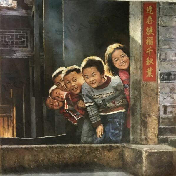 """A Happy Surprise"" by Zhang Xing.  Original Oil Painting on High Quality Burlap"