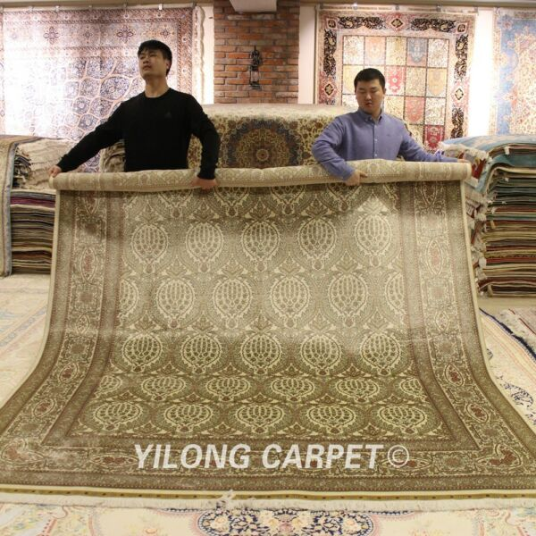 Yilong 8'x10' Huge Indoor Silk Rugs Hand-knotted All Over Carpet Hand craft Q30A