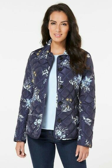 New In Bonmarche Printed Flower Button Front Quilted Jacket Last Size 14