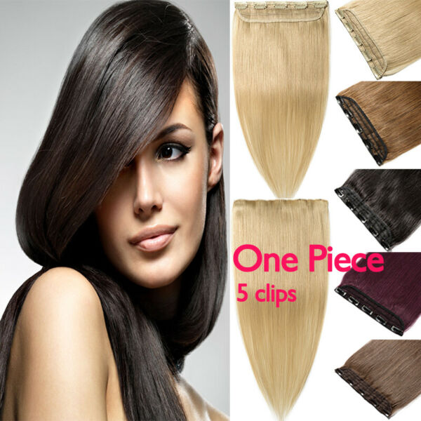 Real Remy Human Hair Extensions One Piece Half Head Clip In Weft New Change US