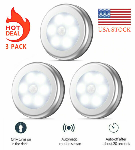 3-Pack Motion Sensor Closet Light - Cordless Battery-Powered LED Night Light