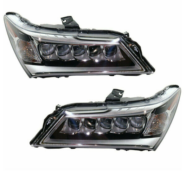 For 14-16 MDX Front Headlight Headlamp LED Head Light Lamp with Bulb Set Pair