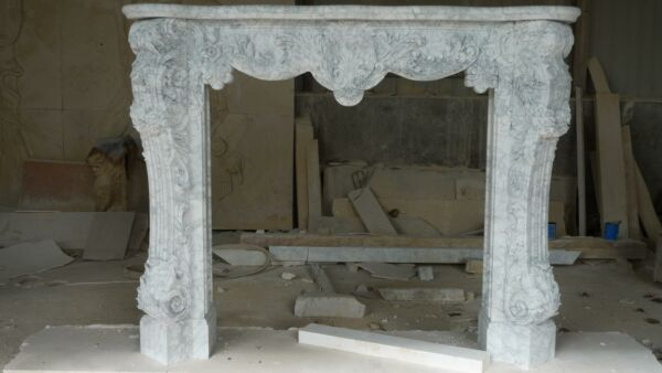 BEAUTIFUL HAND CARVED FRENCH STYLE CARRARA FIREPLACE MANTEL - INM5