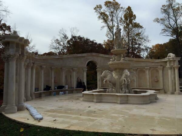 INCREDIBLE CARVED MARBLE ESTATE 40' MASSIVE WALL STRUCTURE - ASG43