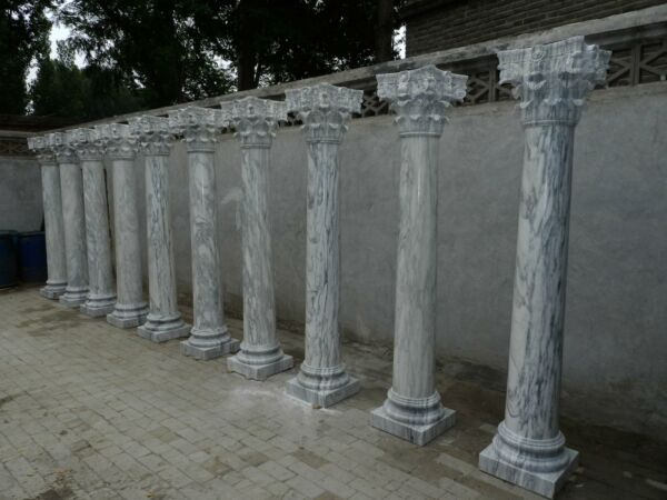 BEAUTIFUL HAND CARVED CARRARA MARBLE ACANTHUS CARVED ESTATE COLUMNS - XO96