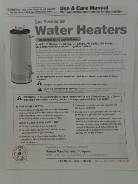 RHEEM Gas Residential Water Heaters Use amp; Care Manual 30 40 and 50 gallon $1.99